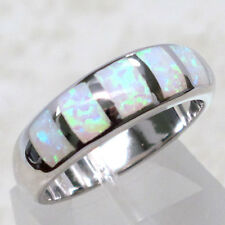 GORGEOUS WHITE GREEN FIRE OPAL 925 STERLING SILVER RING SIZE 5-10