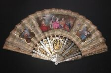 FINE ANTIQUE FRENCH LOUIS XVI CARVED MOTHER OF PEARL GOLD GILT PAINTED SCENE FAN
