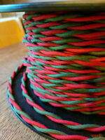 Cloth Covered Cord -  Red & Green Wire Twisted, Vintage Style Fabric Lamp Cable