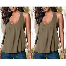 Women Ladies Chiffon Sexy T-shirt Blouse Style Casual Fashion Loose Tank Tops S
