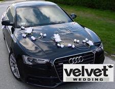 Unique Wedding Car Decoration Kit set White hearts & roses FREE door ribbons