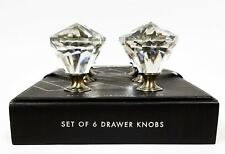 TAHARI SET OF 6 ANTIQUE SILVER FINISH CLEAR CRYSTAL DRAWER,CABINET,KNOBS,DOOR