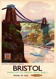 Bristol Clifton Suspension Bridge   Vintage Poster   A1, A2, A3