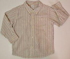 Gymboree Toddler Boy's Size 3T Striped Button Collar Shirt Red Black White