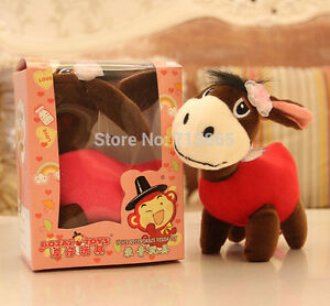 Donkey18cm Recording doll Cute Characters plush Christmas Gift pink red