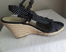 TOMMY HILFIGER tiny polka dot rope wedge heel open toe strappy sandals 7.5