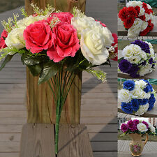 BL_ Large 24 Heads Bridal Wedding Artificial Faux Silk Rose Flowers Decor Latest