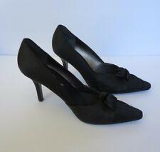 50f644352c67  NEW  Nina Black Satin Stiletto Pointy Toe Heels Sz 9