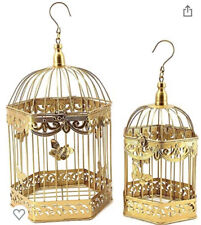 Bird Cage Decorative Golden Hanging Antique Vintage Metal 2 Pcs 20 Inch 16 Inch