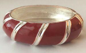 """Premier Designs Jewelry Siren Bracelet 7"""" w Spring Hinge Red Enamel & Silver"""