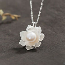 Women Simple White Snow Lotus Pearl Flower Pendant For Necklace Without Chain