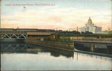 Providence Ri Rr Train Canal State House c1910 Postcard