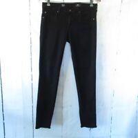 AG Jeans 29 The Stilt Cigarette Leg Skinny Black Raw Frayed Hem Ankle Crop