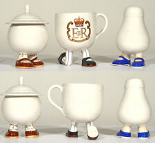 "Lustre Design ""Walking Ware"" Ceramics - QEII Tea Cup, Sugar Bowl and Salt Shaker"