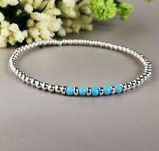 OPAL blue 925 Sterling Silver stacking Stretch Bracelet Birthstone October gift