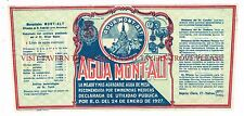 V1 1920s Spain Agua Mont-Alt Medicinal Mineral Water Label Stephens Collection