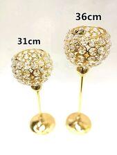 31-36cm Gold Chrome Crystal Glass Tea Light Candle Holder Home Deco Gift