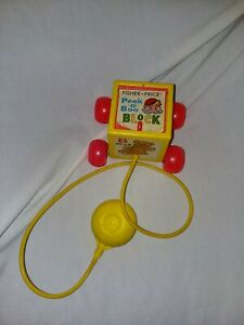 Vintage 1970 #760 Fisher Price Peek-a-Boo Block Pull Toy