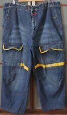 Marithe Francois Girbaud Men's Denim Yellow Shuttle Strap Jeans sz 44M