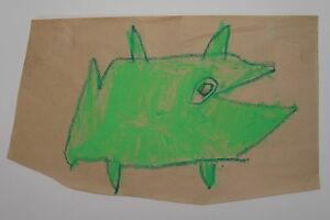 VINTAGE AMERICAN OUTSIDER ART MANNER OF BILL TRAYLOR GREEN MONSTER DRAWING