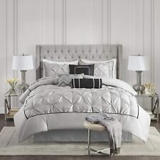 New! ~ Chic Modern Elegant Black Grey Tufted Ruffled Pintuck Soft Comforter Set