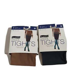 NWT Women's 2 No Nonsense Silky Opaque Sheer To Waist Tights Medium Camel/Gray