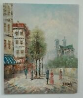 Paris Street Scene Notre Dame Oil Painting on Canvas Signed J. Bardot 20x24""