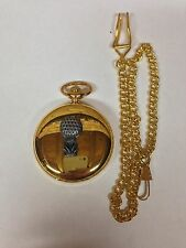 Golf Ball On Tee pewter effect sport emblem on a gold quartz pocket watch