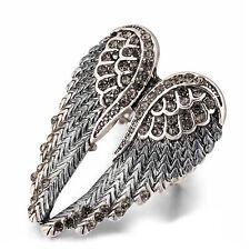 Angel Wings Stretch Ring Grey Gun Metal Blue
