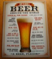 Beer Mug Bar Pub Tavern Decor Sign HOW TO ORDER A BEER AROUND THE WORLD NEW