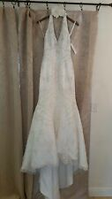 David's Bridal Wedding Gown- Halter Top with Detailed Beading and Train