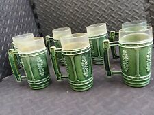 General Tire Mugs - Rare Set of 7 Vintage Plastic Glasses Cups Green Beer Stein