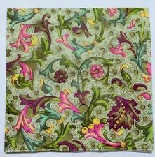 3 x Single Paper Napkins Green Flourish Decoupage or Scrapbooking 3-ply 13x13