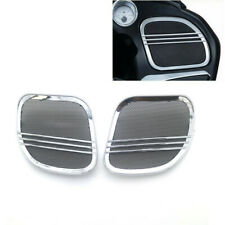 Motorcycle Chrome Tri-Line Speaker Grill Cover Trim For Harley Road Glide 15-18