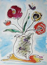 ORIGINAL FLOWERS  Naive FOLK Outsider SELF TAUGHT Mary Carol art MCW Primitive