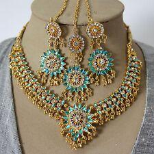 Juego de joyas collar pendiente Tikka Oro Turquesa Bollywood