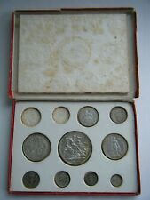 More details for 1902 edward vii silver matt proof 9 coin set - crown to maundy 1d with box