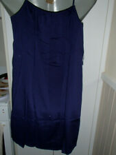 LADIES NAVY SLEEVELESS  SUMMER DRESS THIN STRAPS  CROCKET ACROSS-SIZE 2 XL-NEW