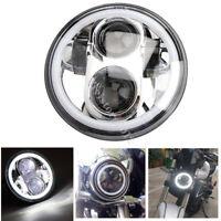 "5.75"" LED Halo DRL Angle Eyes Ring Headlight Projector Chrome For Harley Davison"