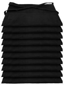 Aprons Plain Black Half Length Bar Barista With Front Pocket - Pack Of 10
