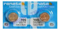 VALUE PACK! 2 x Genuine Renata 399 SR927W Silver Oxide Watch Battery 1.55v