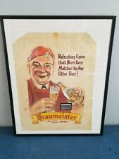 1930s Braumeister Beer independent brewery Milwaukee prototype tissue paper sign
