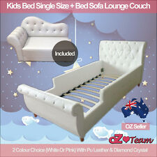 Kids Girls Boys Bed Frame PU Leather Diamond Single + Bed Sofa Lounge Couch