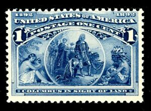 USAstamps Unused VF-XF US 1893 Columbian Expo Columbus in Sight Scott 230 OG MNH