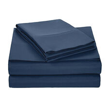 Solid Color Bedding Set Flat Fitted Sheet Deep Pocket Bed Pillowcase Full Size