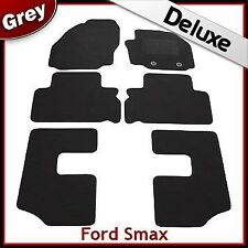 Ford S-Max 7-Seater 2012-2015 Round Clips Tailored LUX 1300g Carpet Mats GREY