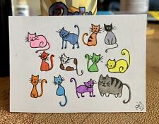 "ACEO ORIGINAL Miniature Art By PJR ""Where Is Howie?"" Collectible Card Kitty Cats"