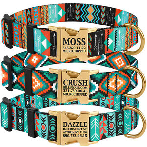 Nylon Personalised Small Large Dog Collar Engraved Collars for Puppy Pet ID Name