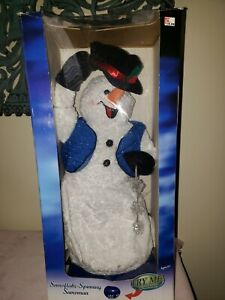 Gemmy Animated Christmas Spinning Snowflake Snowman MOSTLY Working Snow Miser