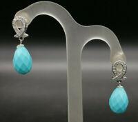 orecchini turchese argento zirconi da donna GIOIELLO ITALIANO pendente piccolo